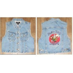 Vintage 1995 LOONEY TUNES Embroidered Denim Vest M